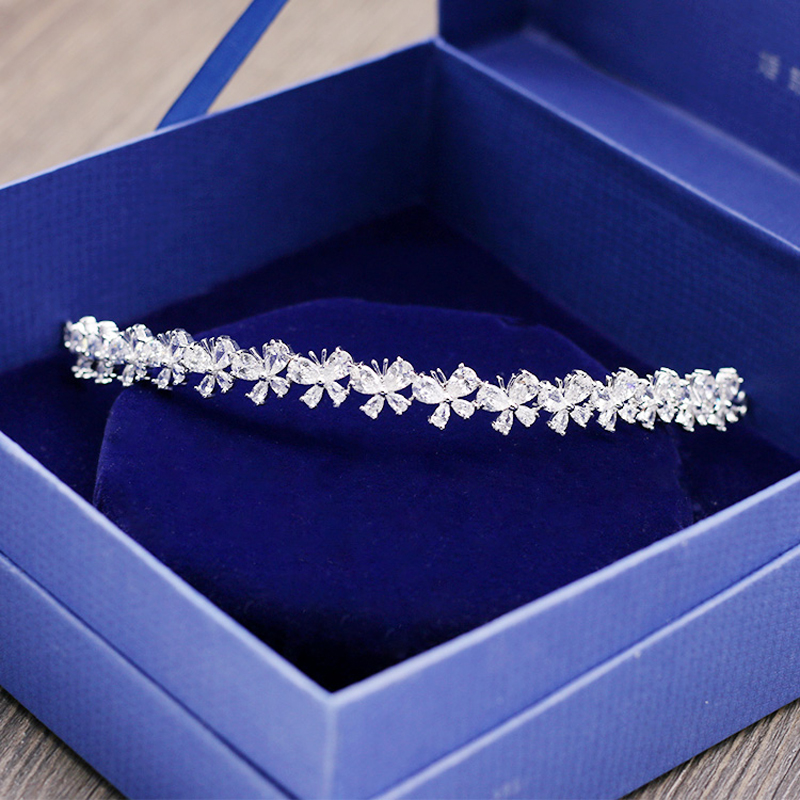 Butterfly Flower Style beauty AAA+ Cubic Zirconia head jewelry sparkling gold color tiaras and crowns for wedding H-005