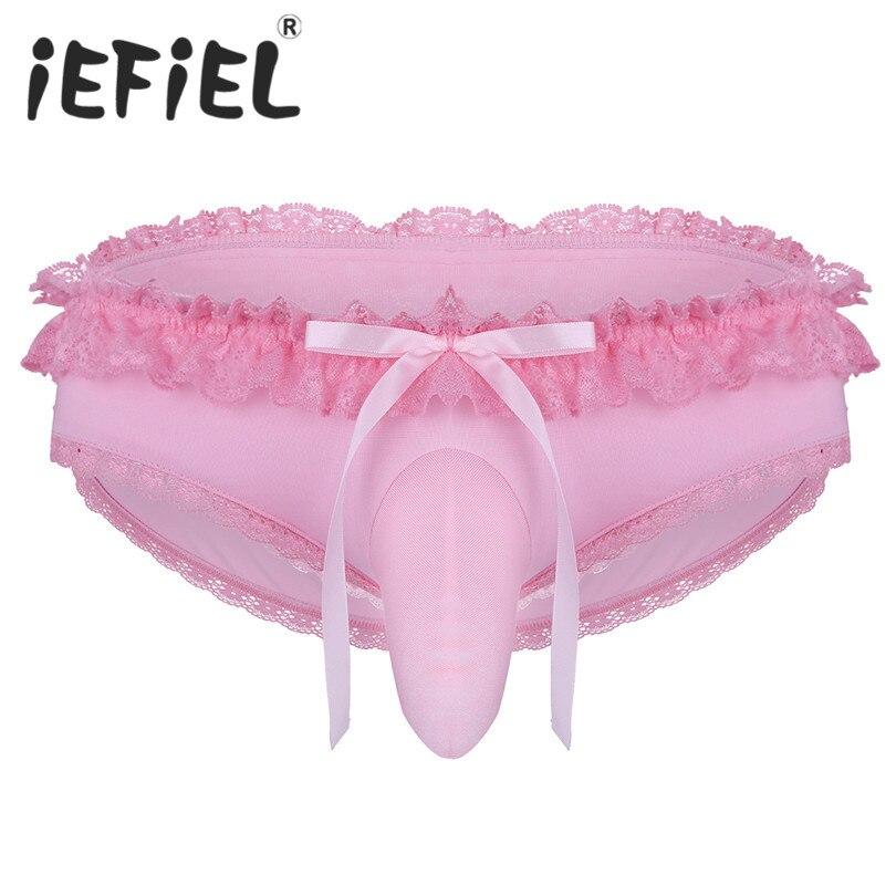 iEFiEL Sexy Mens Male Lingerie Sissy Bikini Briefs Lace Low Rise Pouch Bikini Briefs Underwear Panties Jockstrap Underpants
