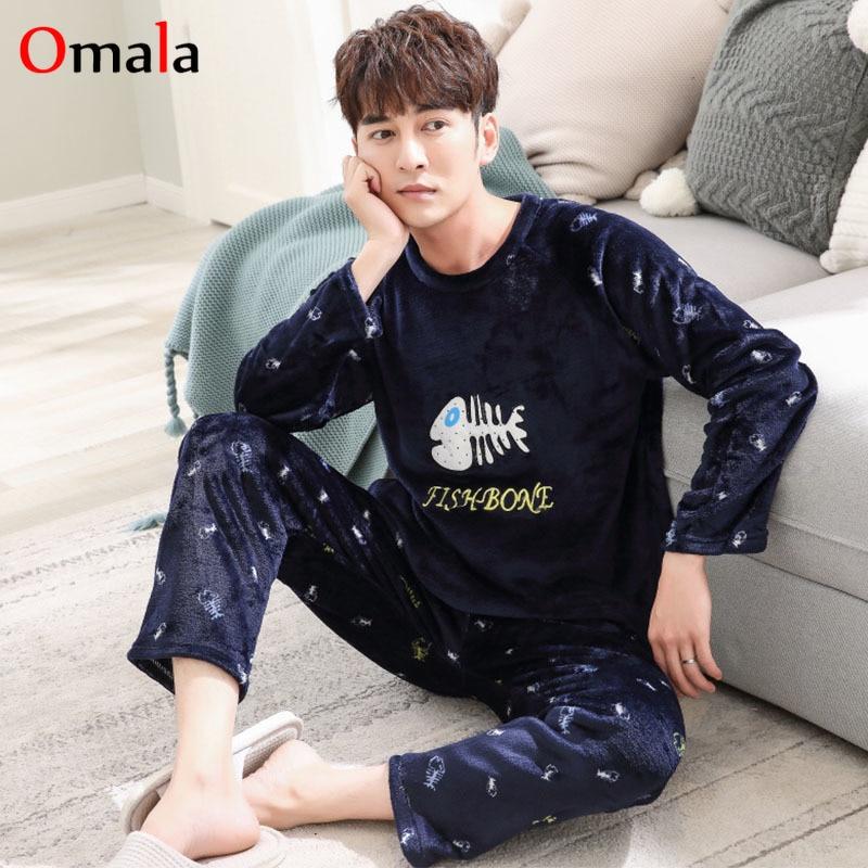 2018 pijama de franela de invierno de los hombres de manga larga de ... fed2abf314c8
