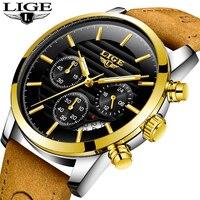 Relogio Masculino LIGE Fashion Watch Men Sport Military Clock Mens Watches Top Brand Luxury Quartz Waterproof Leather Gold Watch