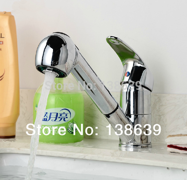 Free shipping brass chrome vessel faucet swivel kitchen sink mixer tap swivel pull out kitchen faucet