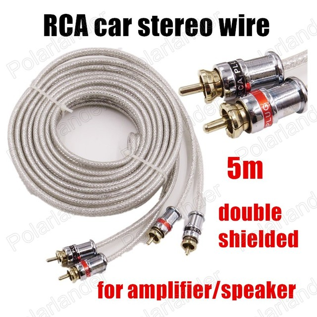 5 meters white two rows RCA to RCA for car amplifier speaker Car ...