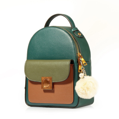 Fashion Green Women Backpacks Genuine Leather Fashion Preppy Style School Bag Small Backpack for Girls Real Leather Bagpack hot sale women s backpack the oil wax of cowhide leather backpack women casual gentlewoman small bags genuine leather school bag