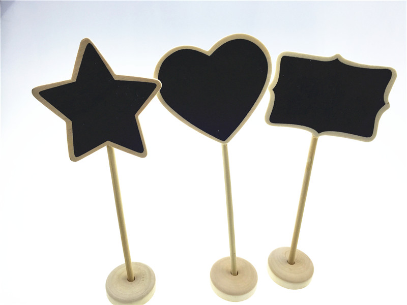 10pcs/lot 3 Mini Heart Chalkboard Natural Wood on Stands Party Wedding Buffet Signs Table Numbers Dessert & Cheese Markers