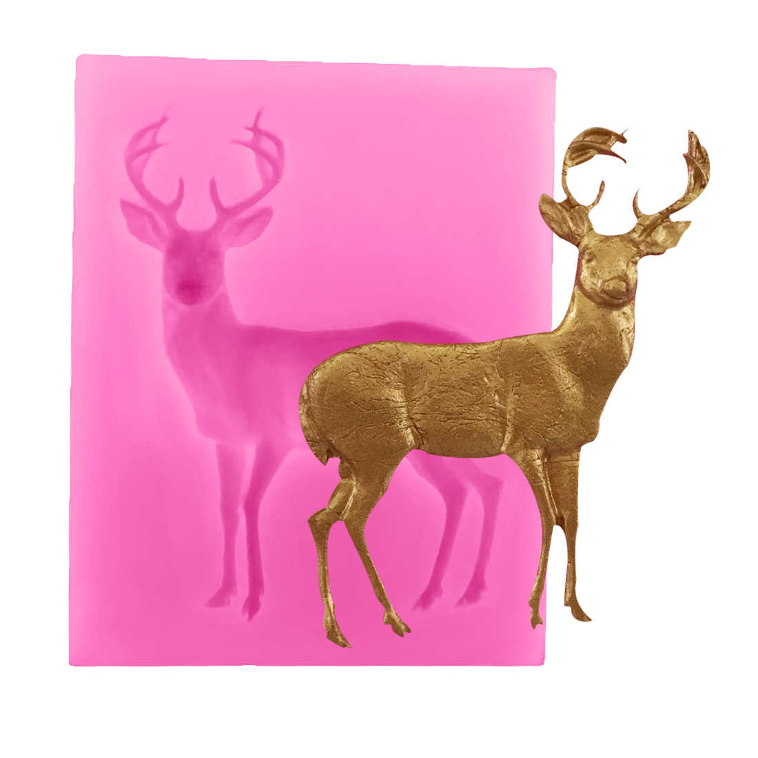 1PC Silicone Christmas Deer Shape Mold Soap Mould Cake Decorating Chocolate Stencils Fondant Pastry Baking Kitchen Accessories