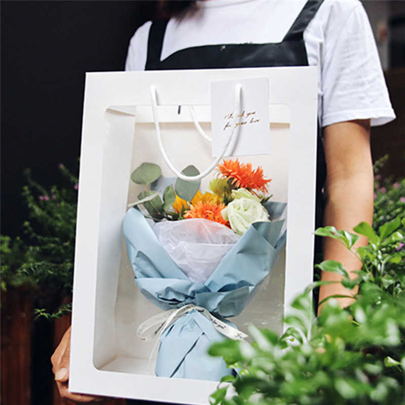 5pcs Rose Flower Tote Bag Transparent Flower Gift Bags Wedding Party Decoration Can Hang Hard Girlfriend Flower Gift Boxes