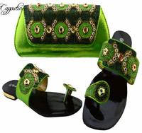 Charming lemon green leisure lower heel shippers with bag shoes and purse set for lady BCH 37 many color