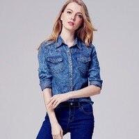 Slim Long Sleeve Turn Down Collar Blouse Snowflake Jeans Tops Womens Fashion Denim Blouse Shirts Femme