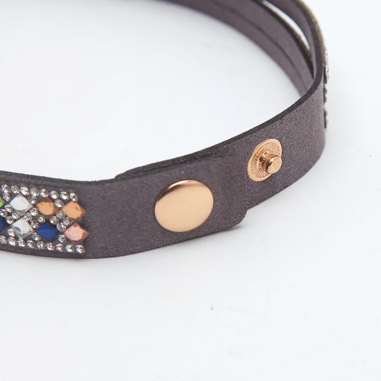 Meajoe Trendy Women Men Multilayer Rhinestone Slake Leather Bracelet Vintage Charm Crystal Long Bracelets Jewelry For Women Gift 9