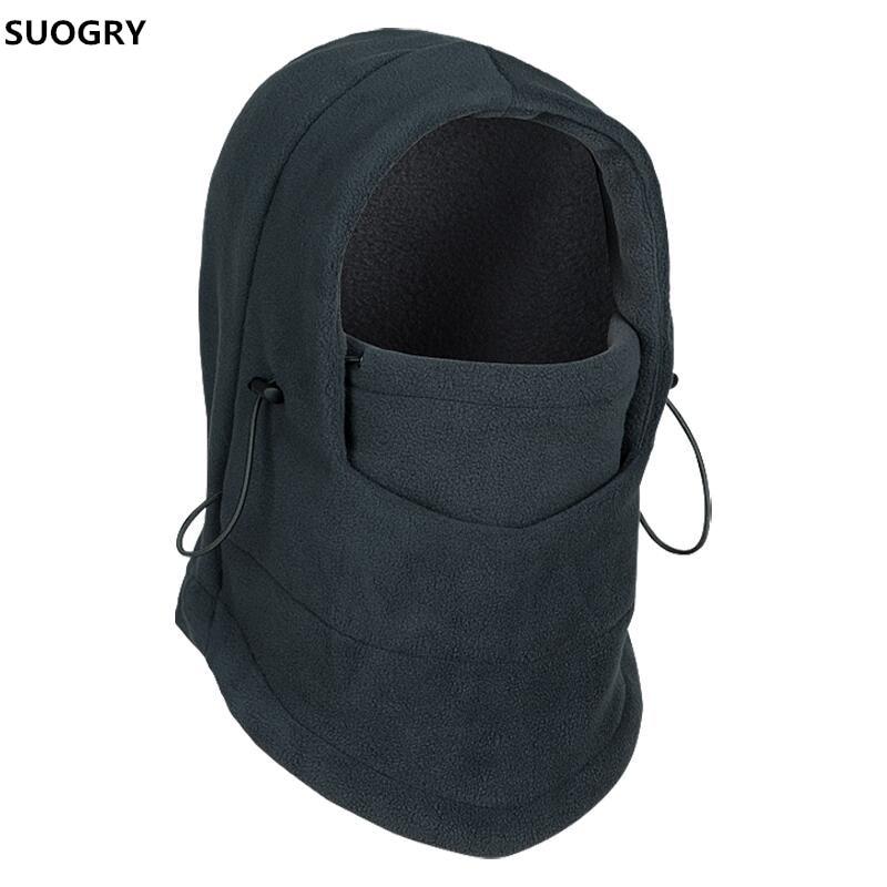 SUOGRY Thermal Fleece Balaclava Hat Hooded Neck Warmer Winter Sports Face Mask for Men Bike Helmet Beanies Masked cap