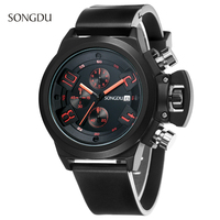 Brand SONGDU Rubber Sport Watch Mens Stainless Steel Case Black Red Japan Movement Rubber Band Luxury