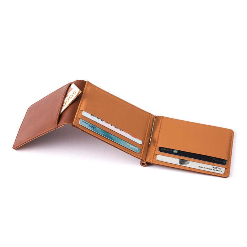 KUDIAN ayı Minimalist para klip cüzdan Trifold erkekler cüzdan zihinsel İnce kelepçeleri cartera hombre portemonnee BID237 PM49