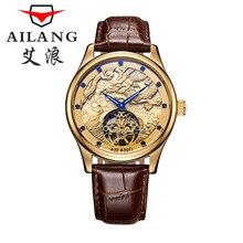 AILANG haute qualité montres Malone Memorial montres Tourbillon montre mécanique ceinture, hommes de montre en or