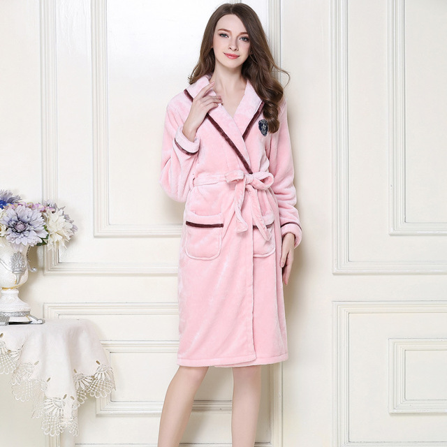 Plus Size XXXL Chinese Women Winter Thick Robe Gown Coral Fleece Kimono  Bathrobe Nightgown Sleepwear Lover Couple Soft Home Wear dee6a1361