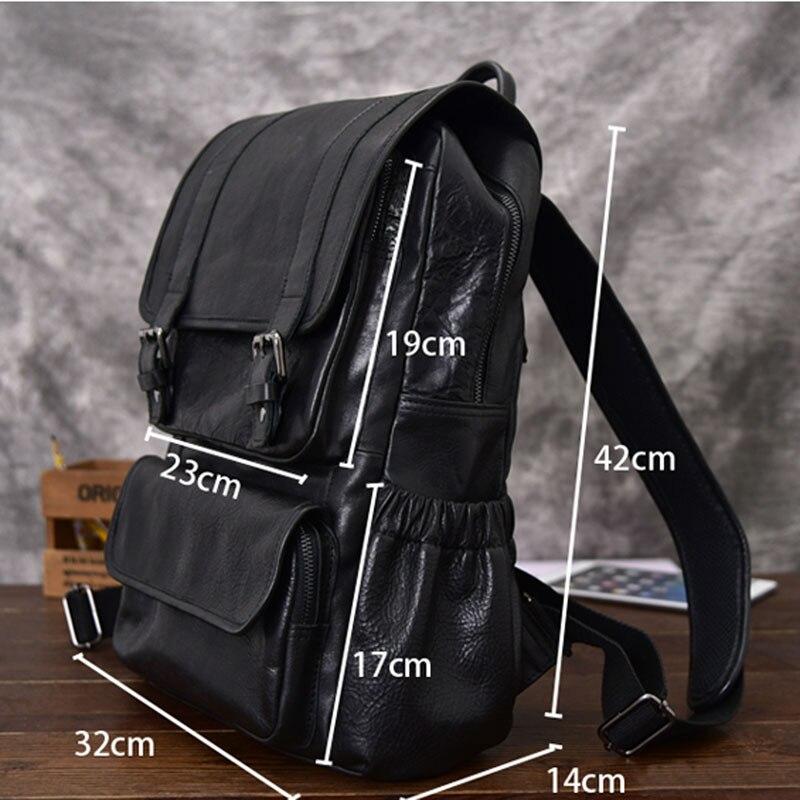 AETOO sac à dos en cuir de cheval fou pour hommes multifonctionnel en cuir véritable 14 sac à dos pour ordinateur portable en cuir de vache sacs d'école à bandoulière - 3