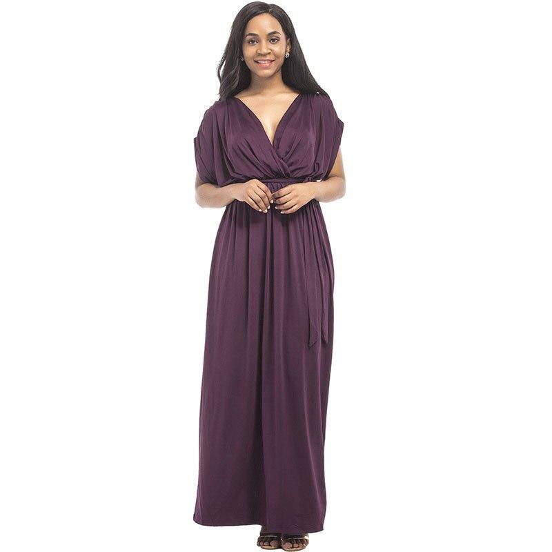 Été nouveau 2018 à manches courtes européen costume-robe motif Sexy solide couleur col en V facile va pendule fête femmes robe Vadim meilleur