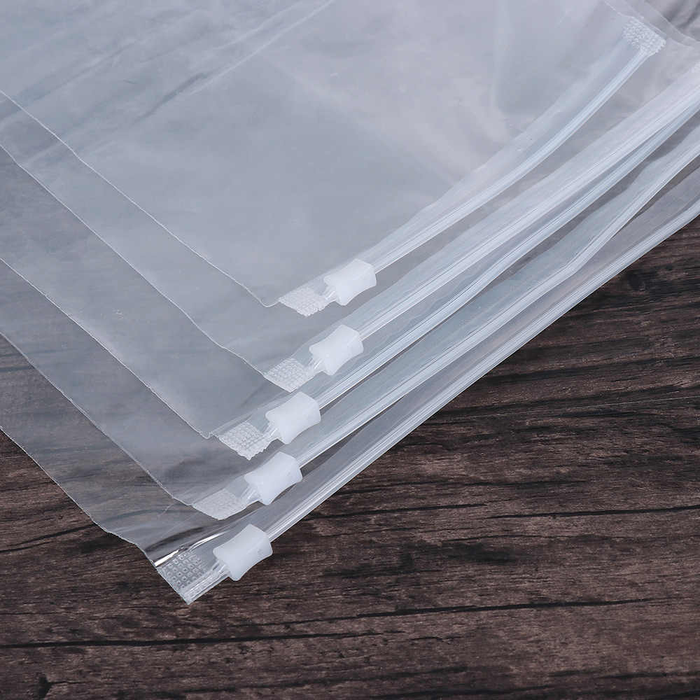5PCS/pack Clear Transparent Plastic Package Cloth Travel Storage Pouch Waterproof Zipper Lock Travel Clothes Storage Bag