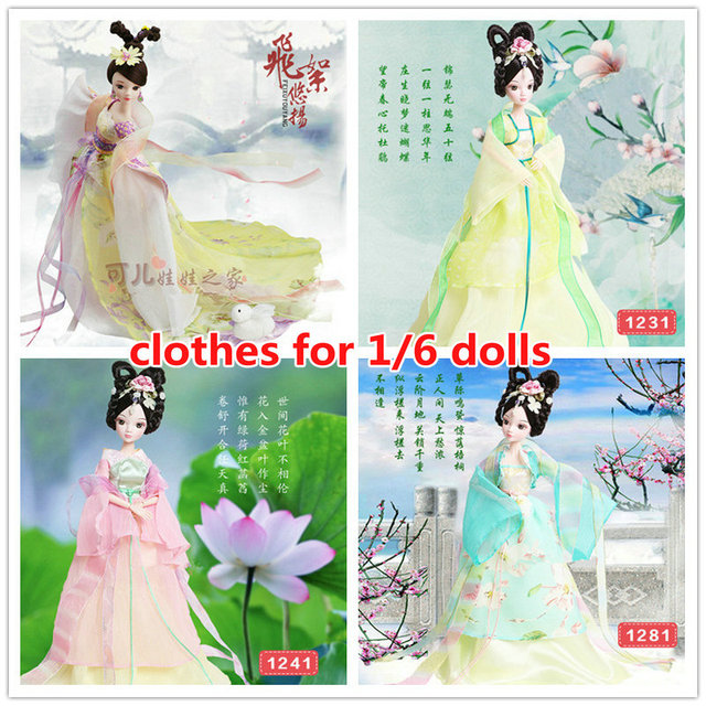 dolls chinese Ancient Costume Clothes for 29cm/11.5 inch Kurhn Dolls Accessories Handmade clothing for 1/6 Bjd doll Girl Toys