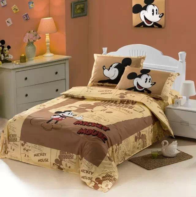 Mickey Mouse Cartoon Comforter Bedding Sets Single Twin