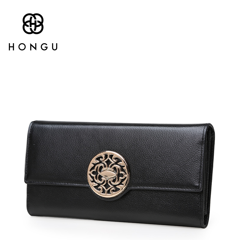 HONGU 100% Genuine Leather Women Wallets Short Coin Purse Clutch Wrist Bag Flowers Girl Coin Pocket Fashion Multi-function Purse
