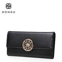 HONGU 100% Genuine Leather Women Wallets Short Coin Purse Clutch Wrist Bag Flowers Girl Coin Pocket Fashion Multi function Purse