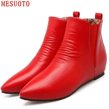 MESUOTO Quality Soft Faux Leather Pointed Toe Flats Ankle Womens Shoes Fashion Style Chelsea Boots Top Size 47