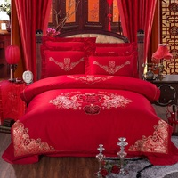 Traditional Chinese Red Embroidered Wedding Double Happiness Bedding Set Queen Size Duvet Covers Bed Sheets with Pillowcase