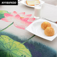 Modern Chinese Table Cloth Rectangle Ink Lotus Printed Tablecloth Home Protection Decoration Elegant Table Cover