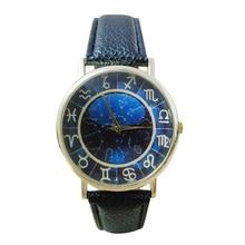 Women's Men's Symbol Dark Blue Dial Faux Leather Band Quartz Analog Wrist Watch 5V2Q C2K5W