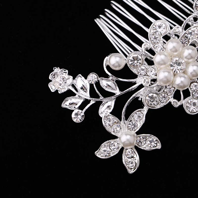 Bridal Hair Accessories Lace Flower Crystal Pearl Rhinestone Hair - Fashion Jewelry - Photo 4