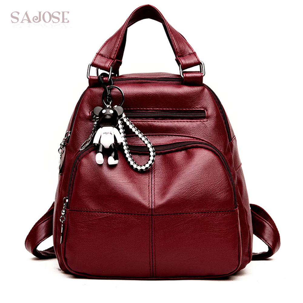 Women's Backpacks Fashion PU Leather Backpack Girl Simple Cute Style Red Student Bag Female School Shoulder Bags Drop Shipping 2017 new girl backpack mini high quality girl student casual female bags woman shoulder bag backpacks fashion female bag