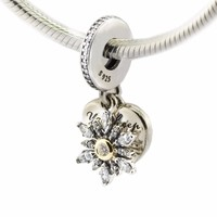Fits Bracelet Snowflake Heart Pendant Charm 14K Gold Plated Original 100 925 Sterling Silver Jewelry 2016