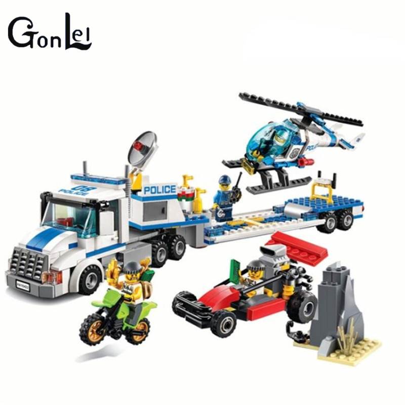 GonLeI 410pcs NEW Urban City Police Force Helicopter Truck Model Building Block Toy Compatible kids education Classic Toys Lepin jie star police pickup truck 3 kinds deformations city police building block toys for children boys diy police block toy 20026