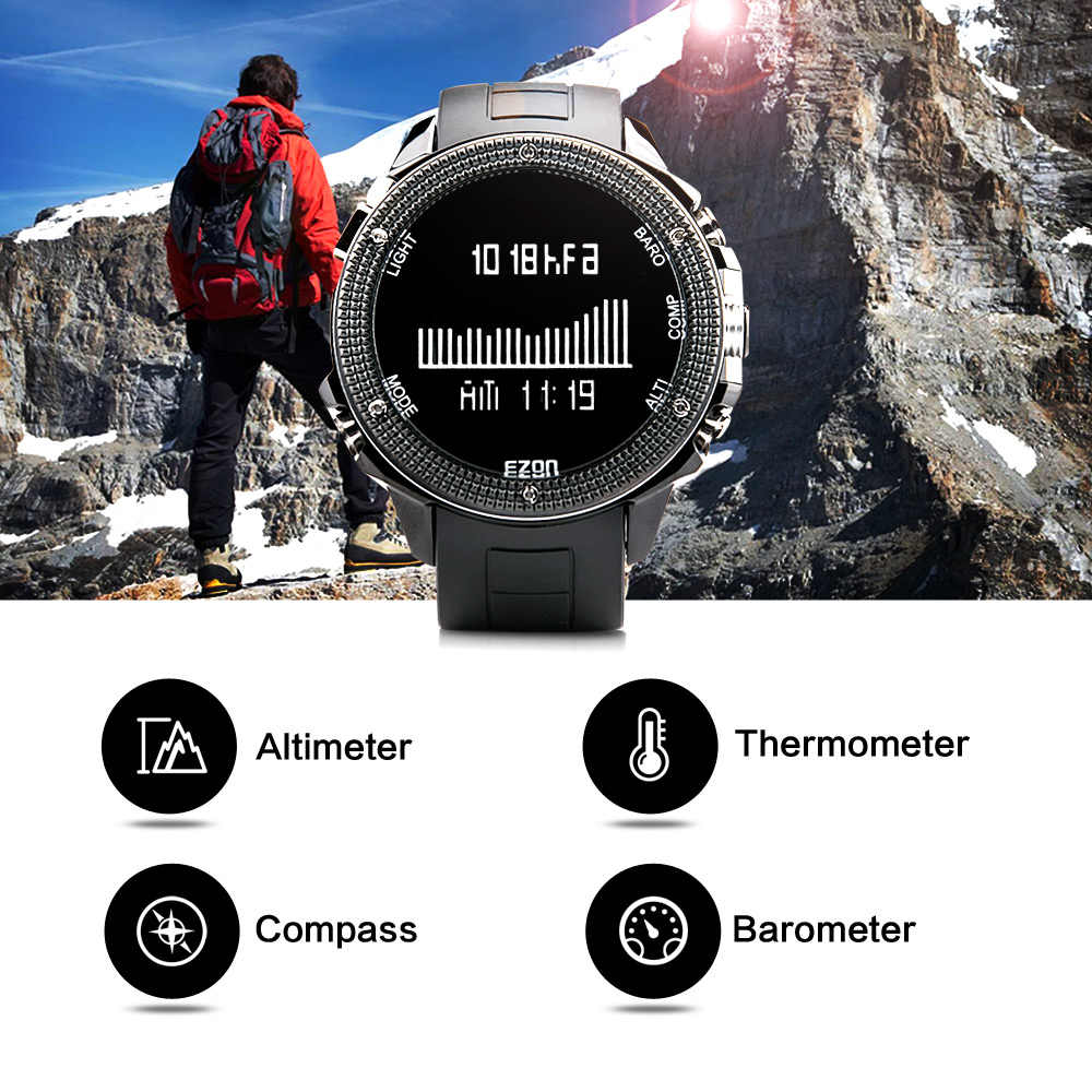 EZON H501 ชายกลางแจ้งเดินป่าปีนเขาเครื่องวัดระยะสูงเข็มทิศเข็มทิศ Big ดิจิตอลนาฬิกากันน้ำกีฬา