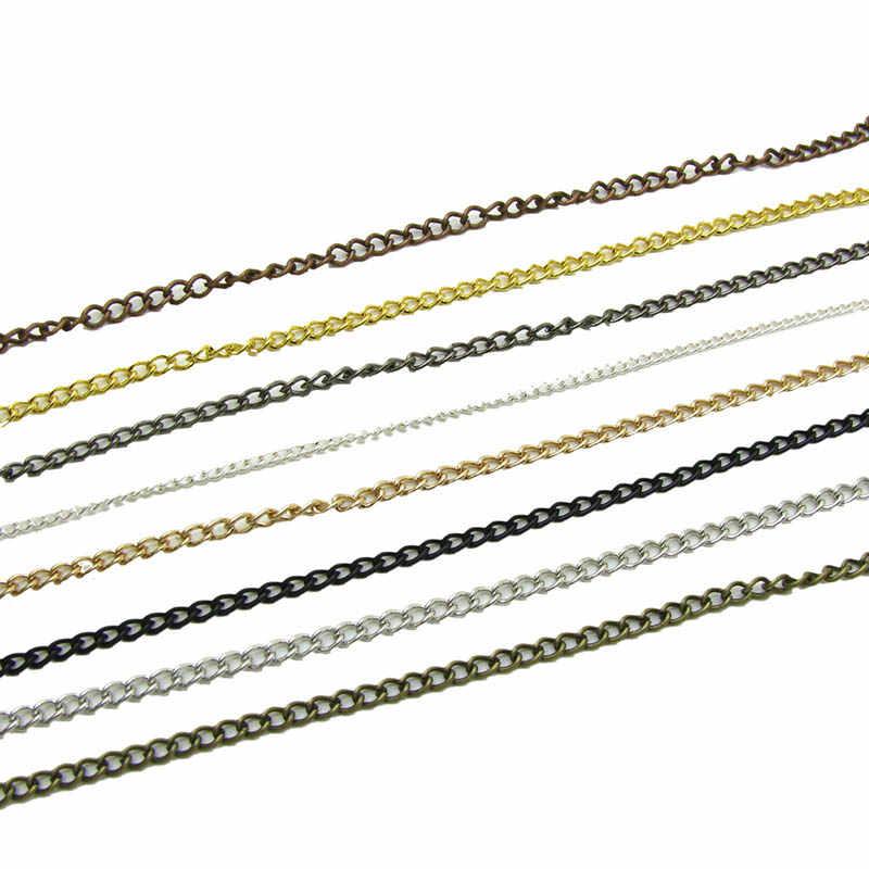 Cadenas de collar de 2,5/3,5/4,5mm 2 m/paquete de rodio/plata/KC oro/Gunblack/Color bronce antiguo cadena plana para hacer joyas DIY