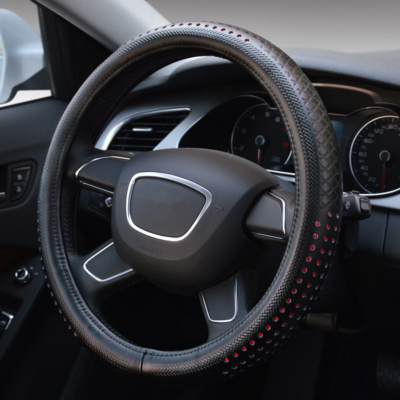 38cm Luxury Black Genuine Leather Car Steering Wheel Cover Breathable Auto Styling for Volkswagen Bora Audi A4L Buick Excelle