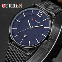 CURREN Top Watches Men Luxury Brand Mesh Steel Strap Slim Male Clock Men Watch Business Fashion