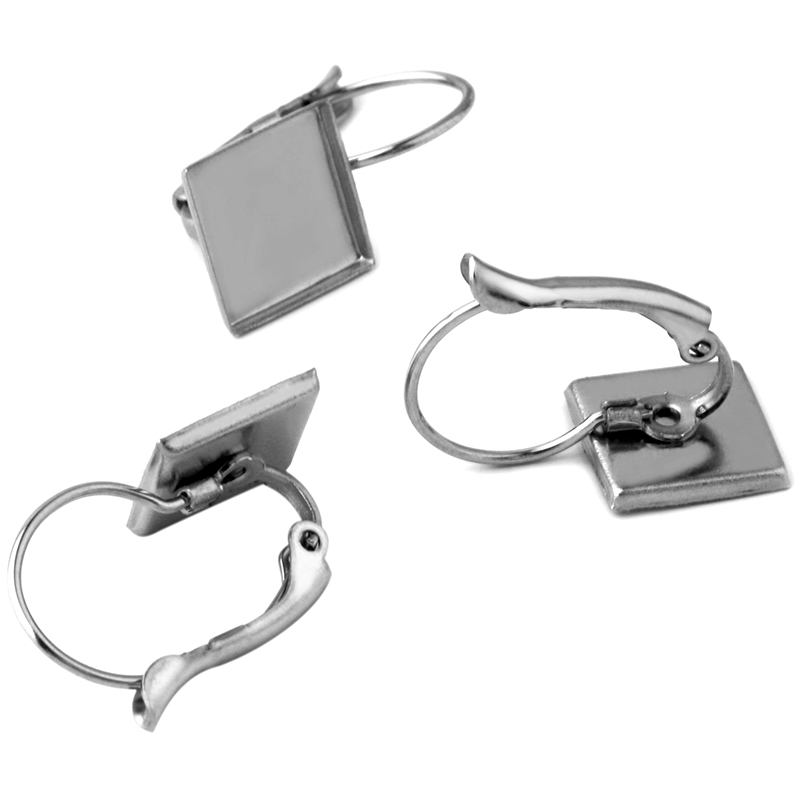 10pcs New Hot Sale Stainless Steel Square 9.8MM Right Angle Diagonal Earrings DIY Jewelry Accessories Wholesale