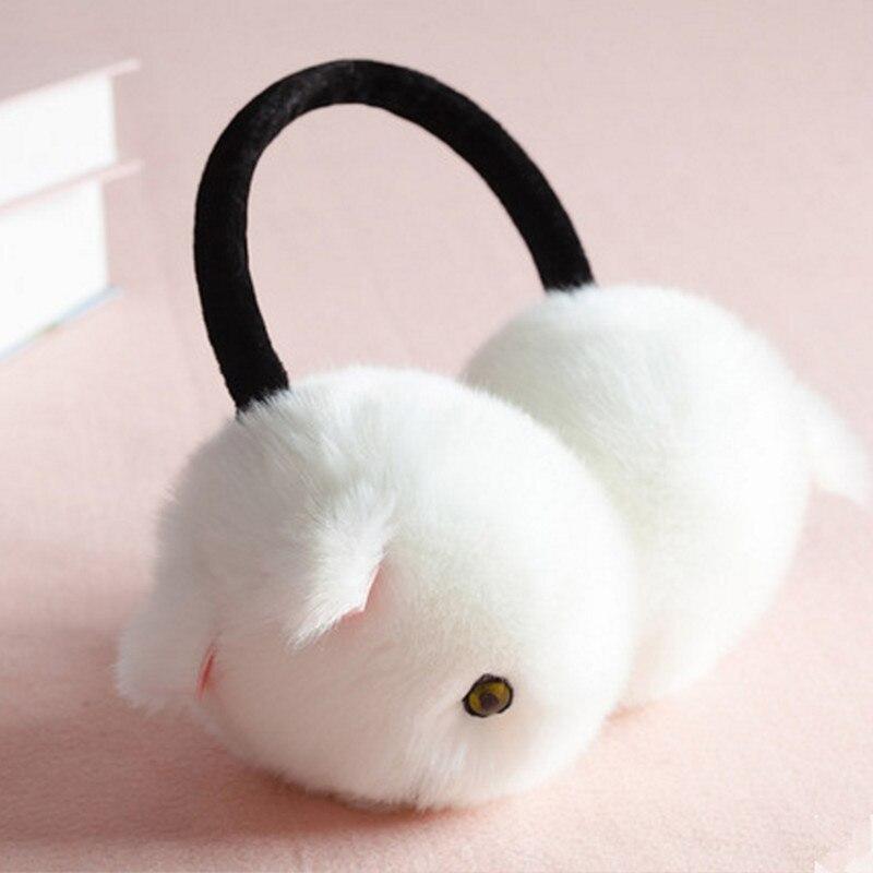 Plus Size Winter Women Warm Faux Fur Ear Muffs Cute Cat Earflap Rabbit Fur Earmuff For Girls Ear Flap Ladies Plush Ear Muffs