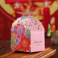 100pcs European Creative Romantic Wedding Candy Gift Box Elegant Luxury Guest Gift Butterfly Flower Bride Laser