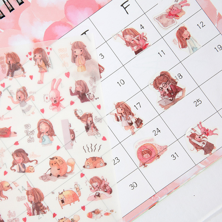 Kawaii Japanese Paper Little Girl Series Sticker Daily Life Work Study Album Diary Phone Decor DIY Stickers Kids Gift 6 Sheets