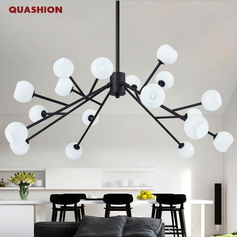 Moderní umělecké lustrové osvětlení větev G4 černé bílé sklo závěsné svítidlo svítidla obývací pokoj