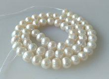 Gros 9 - 10 mm blanc environs de ronde eau douce perles perles en vrac pierre