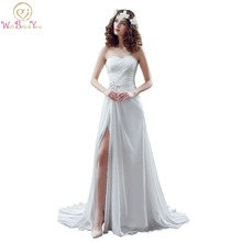 100% Real Images Bridal Gown Design High Split Wedding Dresses White/ Ivory Beaded Pleat Strapless A-line Stock Gowns