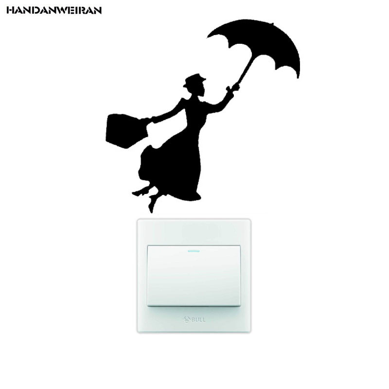one piece umbrella girl switch sticker Living room decoration wall stickers Creative waterproof PVC for black