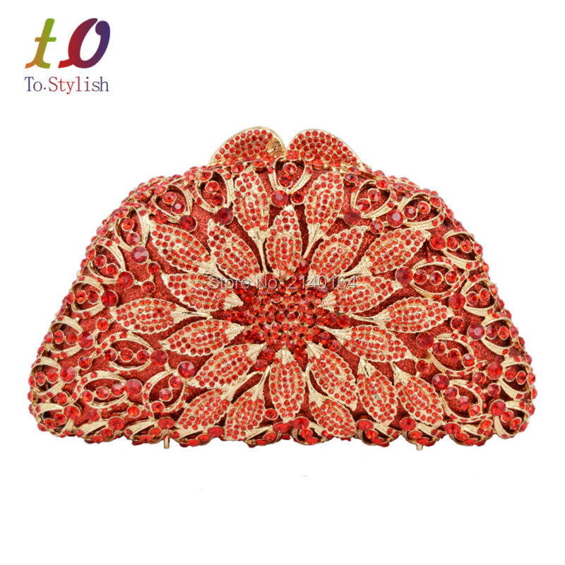 Red Flower Crystal Clutch bag Luxury Latest Diamond hard box evening party rhinestone clutch ladies wedding Feast purse 88586 women luxury rhinestone clutch evening handbag ladies crystal wedding purses dinner party bag bird flower purse zh a0296