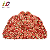 Red Flower Crystal Clutch Bag Luxury Latest Diamond Hard Box Evening Party Rhinestone Clutch Ladies Wedding