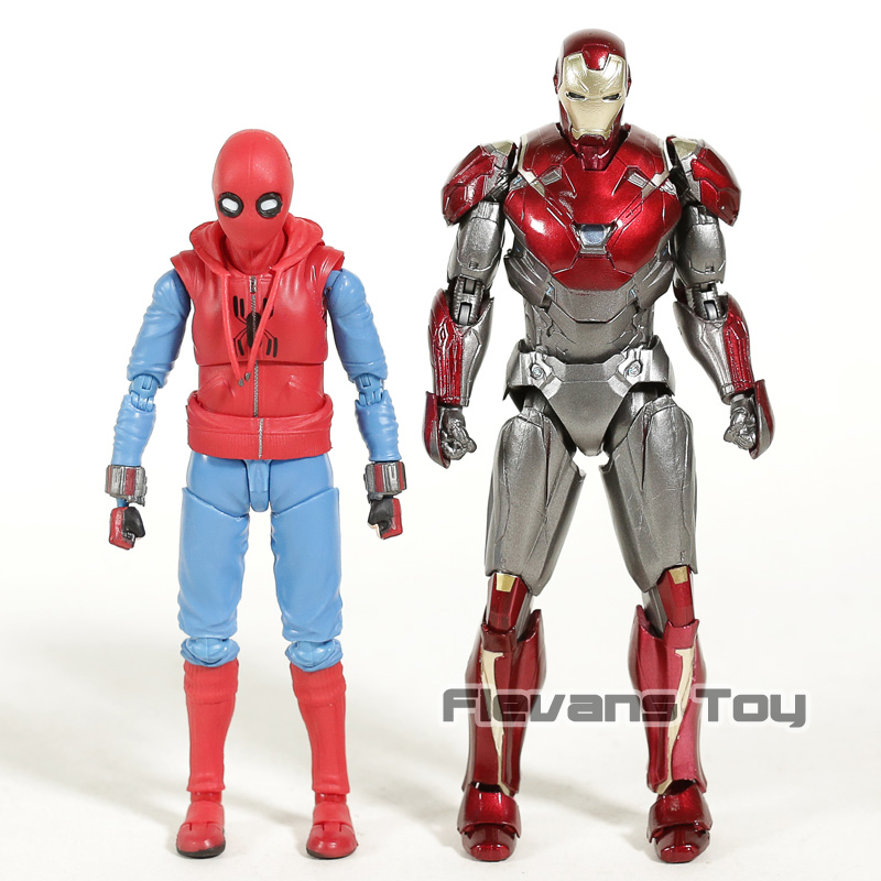 Spider-Man retour SHF SHFiguarts Iron Man Mk 47 & Spiderman maison fait costume Ver. Jouet à collectionner en PVC