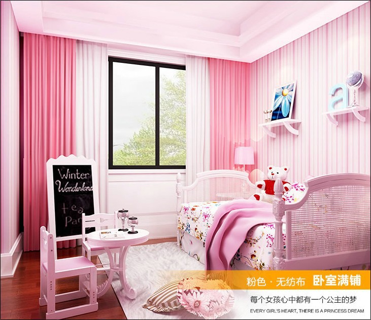 Girls room pink and blue stripe wallpaper and papel de parede kids first choice by FREE SHIPPING