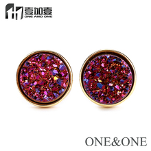 Free Shipping Round earrings 8mm Amethys color new designs model fashion opal earring jewelry for women/girl
